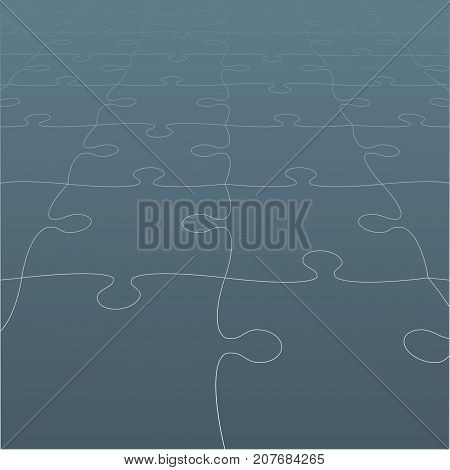 Perspective Grey Puzzles Pieces - Vector Illustration. Jigsaw Puzzle Blank Template. Vector Background.