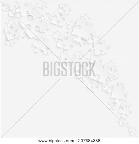 White Puzzles Pieces Square - Vector Illustration. Scattered Smoke Jigsaw Puzzle Blank Template. Vector Background.