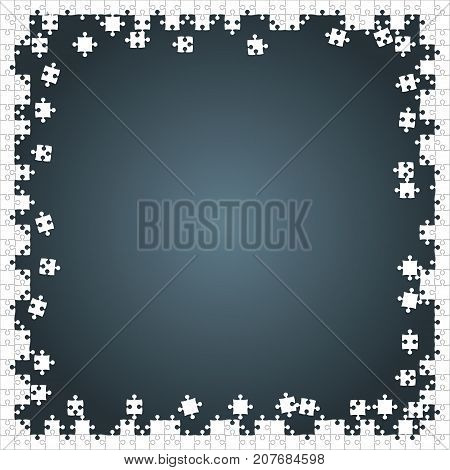 Frame White Puzzles Pieces Arranged in a Grey Square - Vector Illustration. Scattered Jigsaw Puzzle Blank Template. Vector Background.