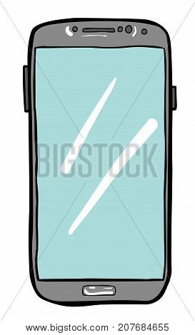 Cartoon image of Cellphone Icon. Smartphone pictogram. An artistic freehand picture.