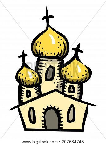 Cartoon image of Church Icon. Religion symbol. An artistic freehand picture.