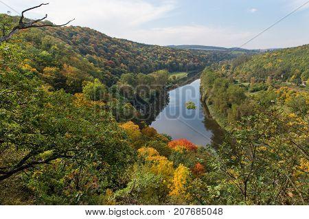 Autumn river Berounka in central Bohemia, Czech republic
