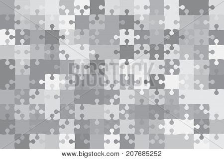 150 Grey Puzzles Pieces Arranged in a Rectangle - Vector Illustration. Jigsaw Puzzle Blank Template. Vector Background.