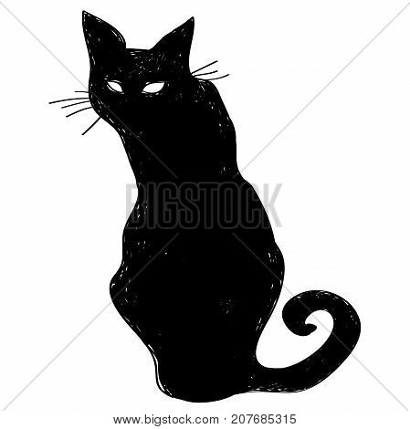 Vector black silhouette of a sitting cat. Hand drawn crow. characters Halloween. Vector illustration