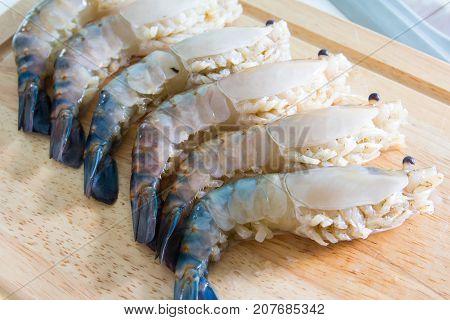 Fresh shrimp on cutting board (shrimp river)