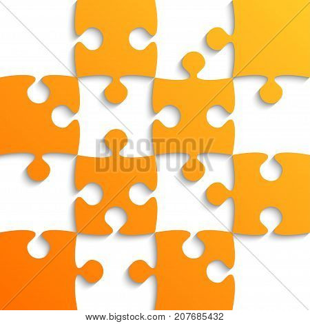 Orange Puzzle Pieces Vector Photo Free Trial