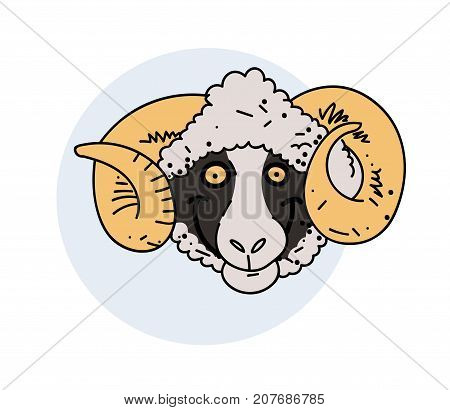 Funny smiling ram face, hand drawn cartoon image. Freehand artistic illustration.