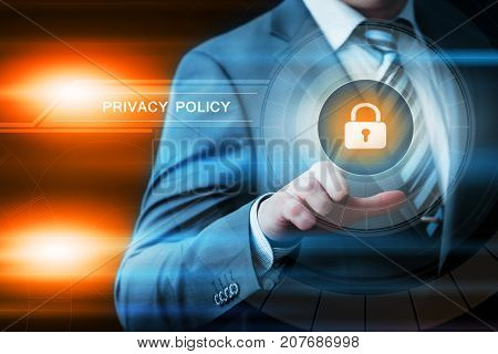 Privacy Policy Data Protection Safety Cyber Security Business Internet Technology Concept.