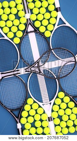 Tennis rackets with balls on hard surface court. Vertical. 3D illustration