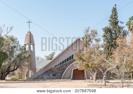 ASKHAM SOUTH AFRICA - JULY 6 2017: The Dutch Reformed Church in Askham a small town in the Northern Cape Province of South Africa