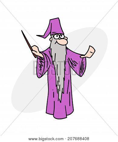 Wizard cartoon hand drawn image. Original colorful artwork, comic childish style drawing.
