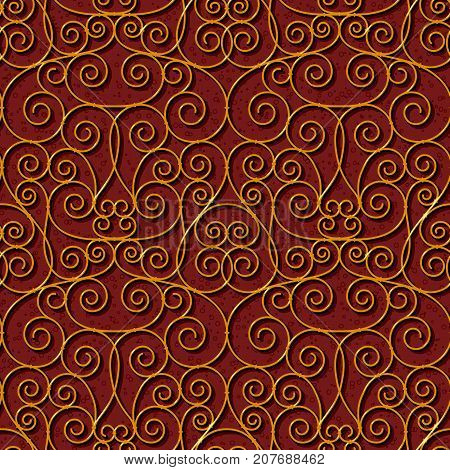 seamless floral dark red damask brocade pattern background vector