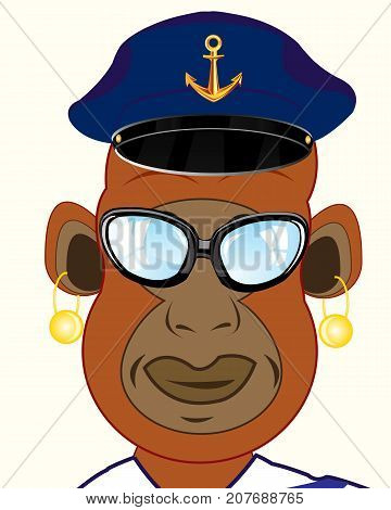 Ape captain bespectacled and service cap on white background