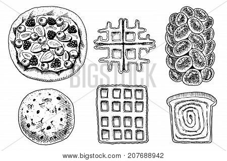bread and pastry donut, Belgian waffles and fruit pie. cupcake and sweet bun or pretzel and toasts. engraved hand drawn in old sketch and vintage style for label and menu bakery shop. organic food