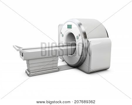 3D Illustration Of Magnetic Resonance Imaging Machine Isolated On White Background. Medical And Scie