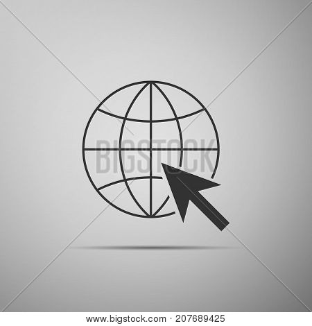 Go To Web icon isolated on grey background. Globe and cursor. Website pictogram. World wide web symbol. Internet symbol for your web site design, logo, app, UI. Flat design. Vector Illustration