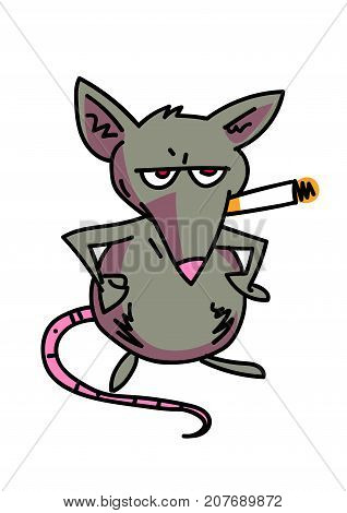 Rat smoking cigarette cartoon, hand drawn image. Original colorful artwork, comic childish style drawing.