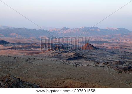 Panoramic view of Crater Ramon in Negev desert Israel.