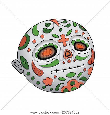 Emoji Neutral Dead. Dia de Los Muertos. Day of The Dead Vector Illustration With Festive Skull, Flowers Decoration
