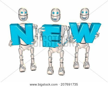 New Robots Lifting Letters Word Just Released Update 3d Illustration