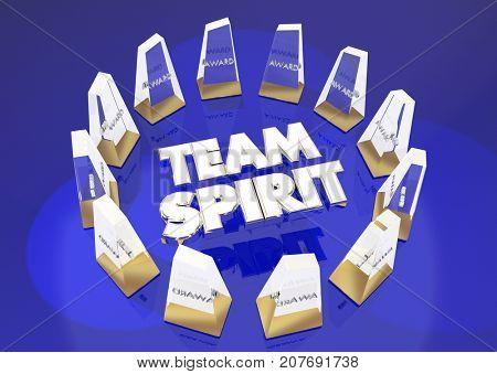 Team Spirit Awards Best Teamwork Recognition 3d Illustration