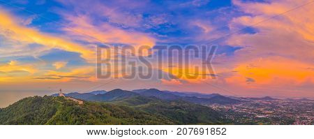 Scenery Panoramic Phuket Big Buddha In Beautiful Sunset.