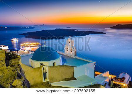 Firostefani, Santorini, Greece. Twilight With Old Greek Church A