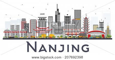 Nanjing China Skyline with Gray Buildings Isolated on White Background. Business Travel and Tourism Illustration with Modern Architecture.