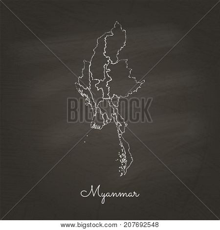 Myanmar Region Map: Hand Drawn With White Chalk On School Blackboard Texture. Detailed Map Of Myanma