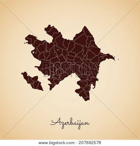 Azerbaijan Region Map: Retro Style Brown Outline On Old Paper Background. Detailed Map Of Azerbaijan