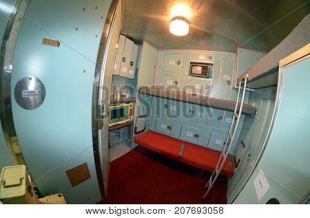 Residential and rest area. Bunker for launch SS-18 Satan team. Museum of Soviet Strategic Nuclear Forces. POBUGSKOE, UKRAINE - September 2, 2017