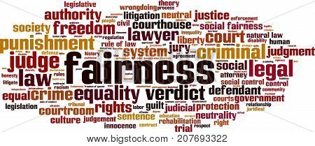 Fairness word cloud concept. Vector illustration on white