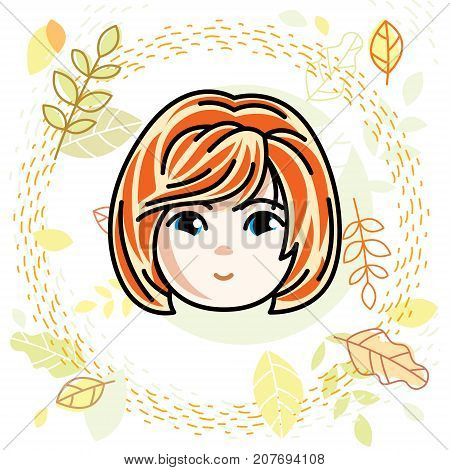 Girls face human head. Vector character beautiful red-haired teenager with stylish haircut.