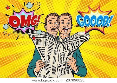 Good and bad newspaper news, the reaction of men. Pop art retro vector illustration