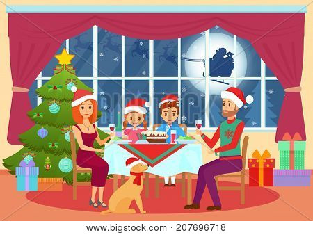 Vector illustration of parents and children sitting at table and dining on Christmas eve