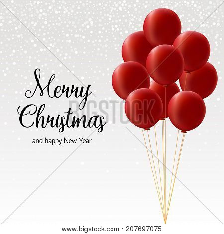 Bundle of big red balloons on white background with snowflakes with the calligraphic inscription Merry christmas and happy new year
