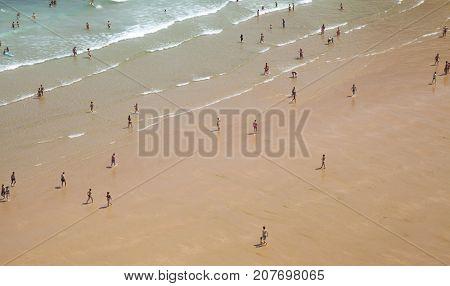 Santander, Spain - August 14: Beach Playa De Matalenas