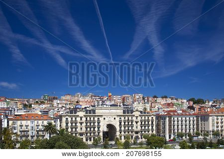 Santander, Spain - August 11: Many Contrails In The Sky