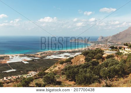 View of the beach of Falasarna, an ancient Greek harbor town on the northwest coast of Crete.