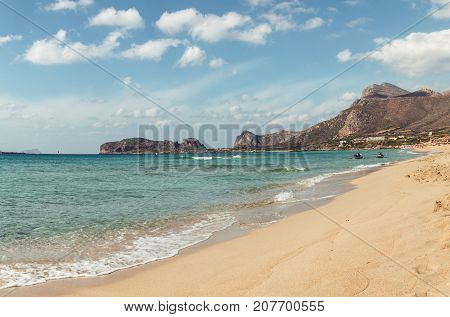 October 3rd, 2017, Falasarna, Crete, Greece - View of the beach of Falasarna, an ancient Greek harbor town on the northwest coast of Crete.