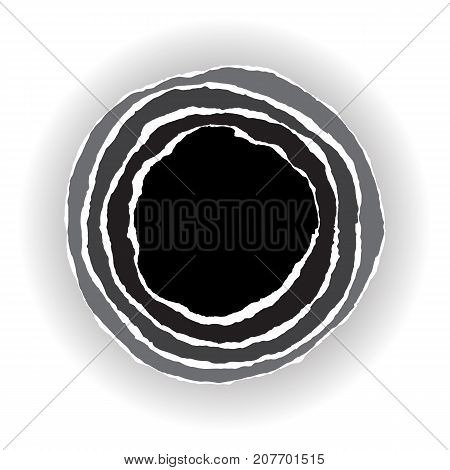 Ripped paper circle pattern. Abstract round composition with stripes on black and white background.
