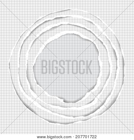 Realistic ripped squared paper circle pattern. Abstract round composition with stripes and shadows on notebook page background.