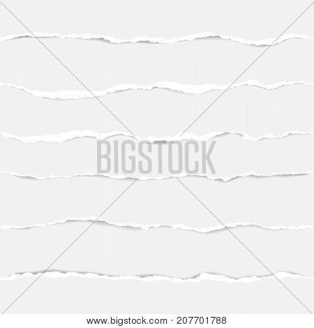Realistic ripped paper seamless elements with shadows. Abstract wallpaper with white stripes pattern on white background.