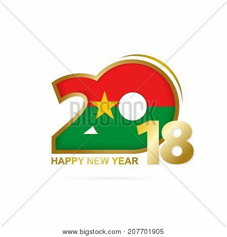 Year 2018 With Burkina Faso Flag Pattern. Happy New Year Design.