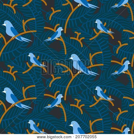 Birds on branches with dense leaves blue dark pattern seamless vector. Nestlings on trees at night for print on fabric.