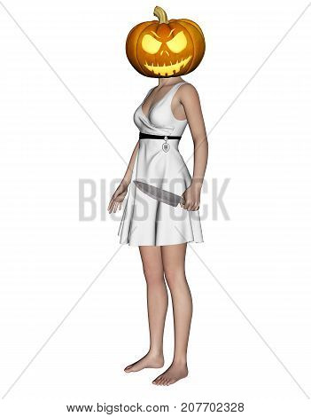 3d illustration of Woman halloween pumpkin head with knife in hand,Mixed media