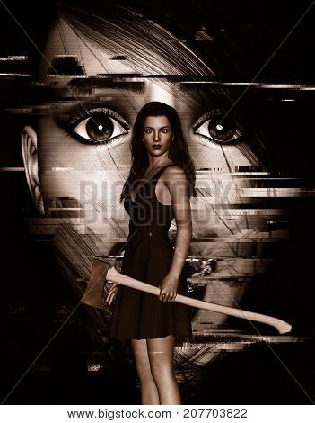 It's time for revenge,3d illustration of Woman with an old axe in hand and face of woman screaming behind,Concept and ideas background for book cover or horror movie poster