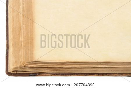 Old book, Aged brown Paper Page, isolated over white background
