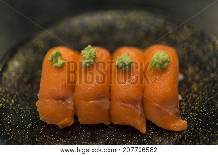 Japanese Food In Set Different Types Of Sushi