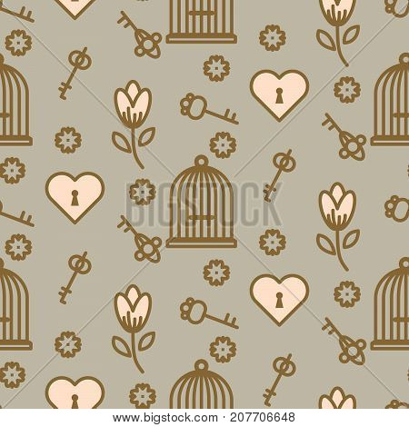 Bird cage romantic seamless vector pattern. Birdcage taupe and pink repeat background for card, invitation and paper.